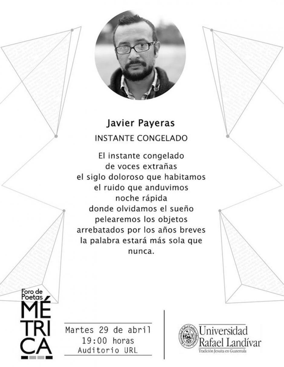 Javier Payeras es uno de los escritores que asistirá al foro. (Diseño: Métrica oficial)