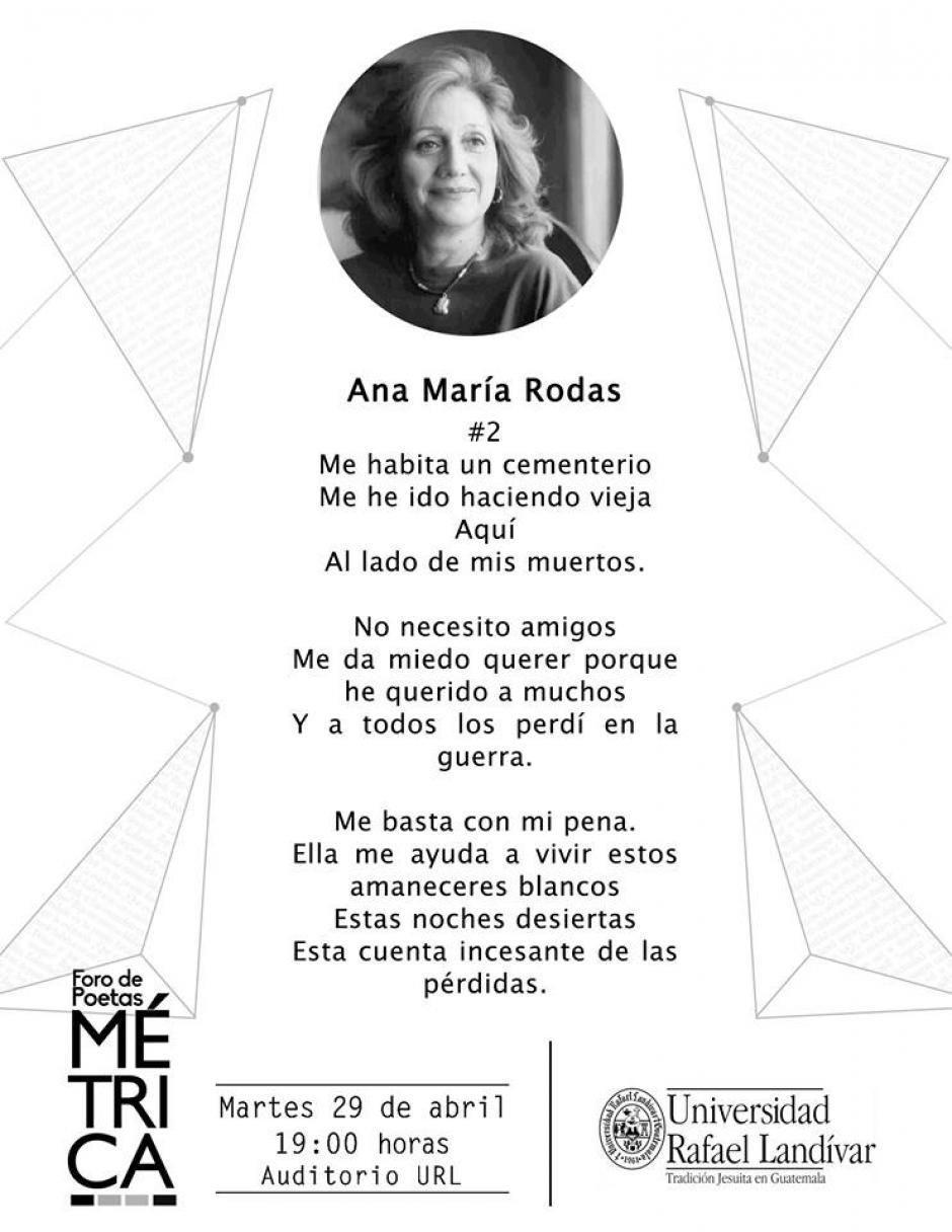 Ana María Rodas es una de las poetas más reconocidas de nuestro país. (Diseño: Métrica oficial)