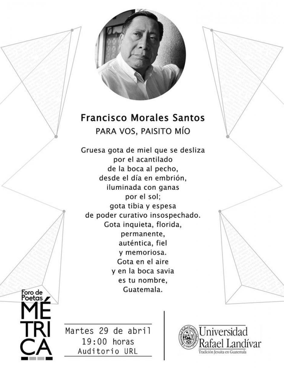 Francisco Morales Santos obtuvo el Premio Nacional de Literatura Miguel Ángel Asturias en 1998. (Diseño: Métrica oficial)
