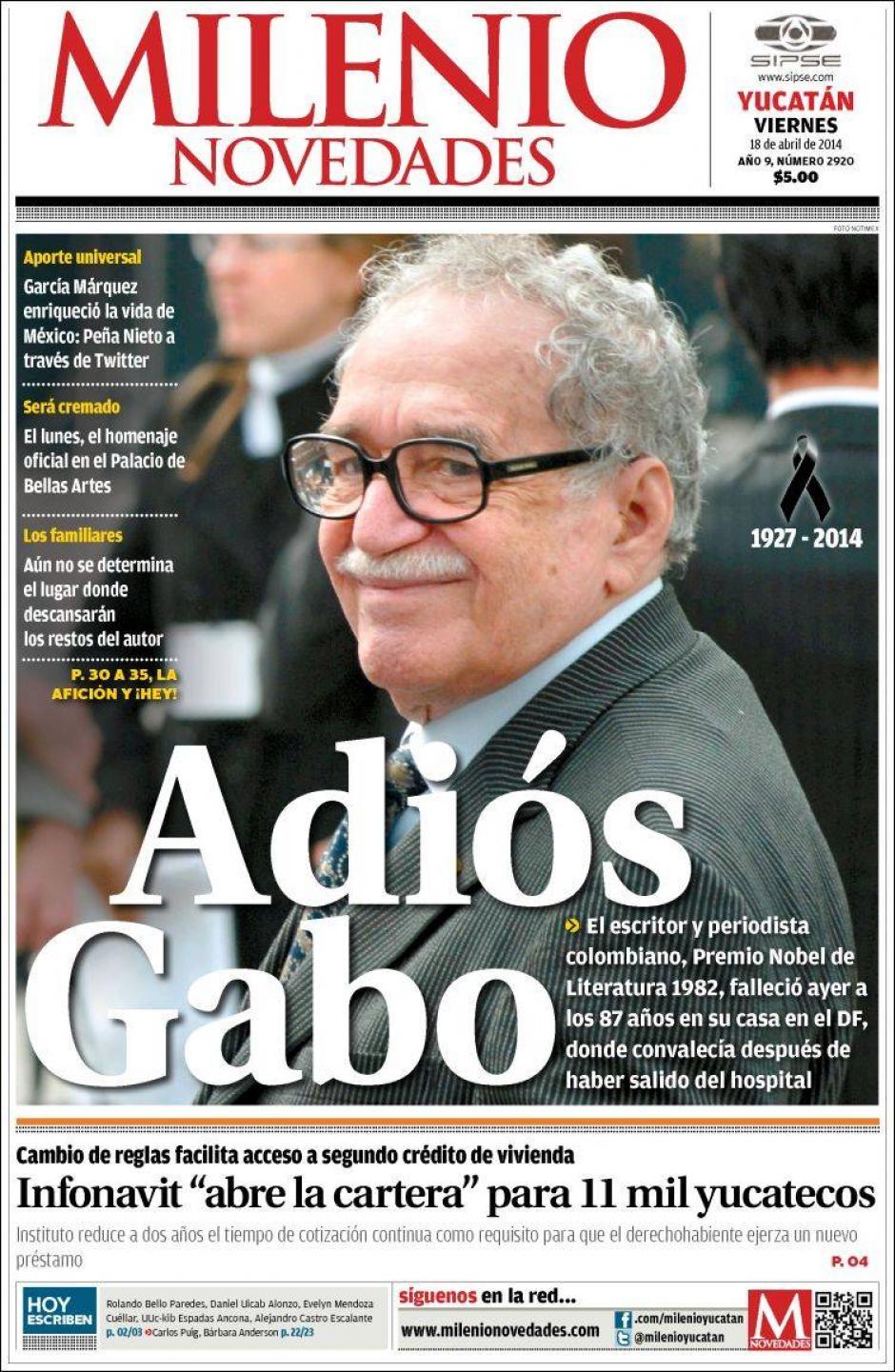 Para Milienio, el fallecimiento de García Márquez debió ser uno de los dos únicos titulares a destacar en su portada. (Foto: Clases de Periodismo)