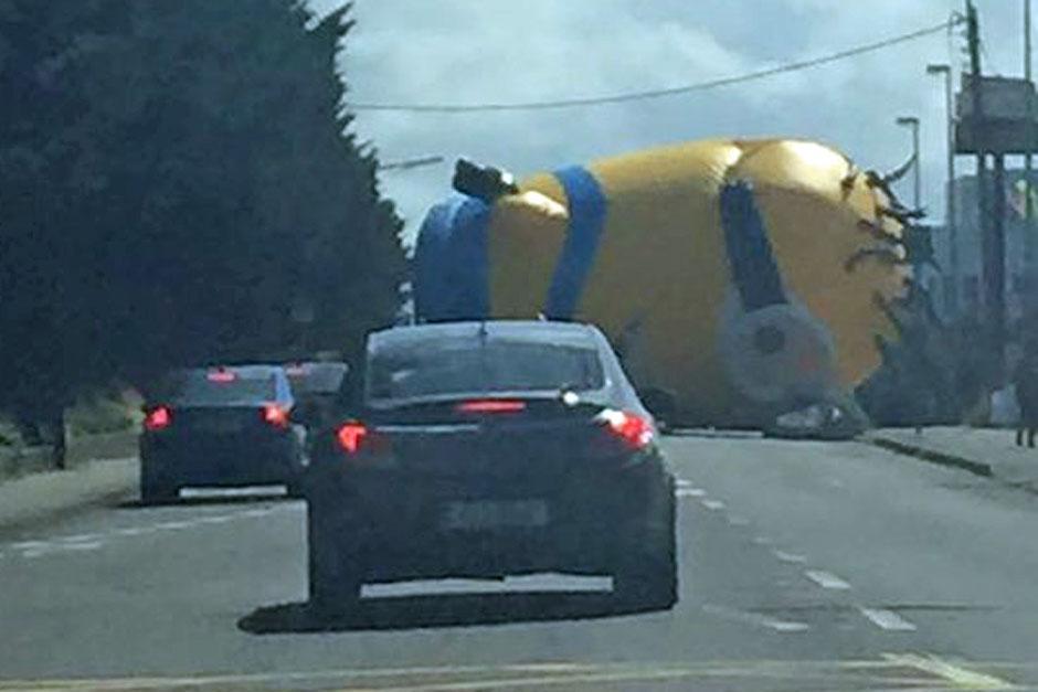 Varios conductores se sorprendieron al ver en la carretera al inmenso Minion inflable