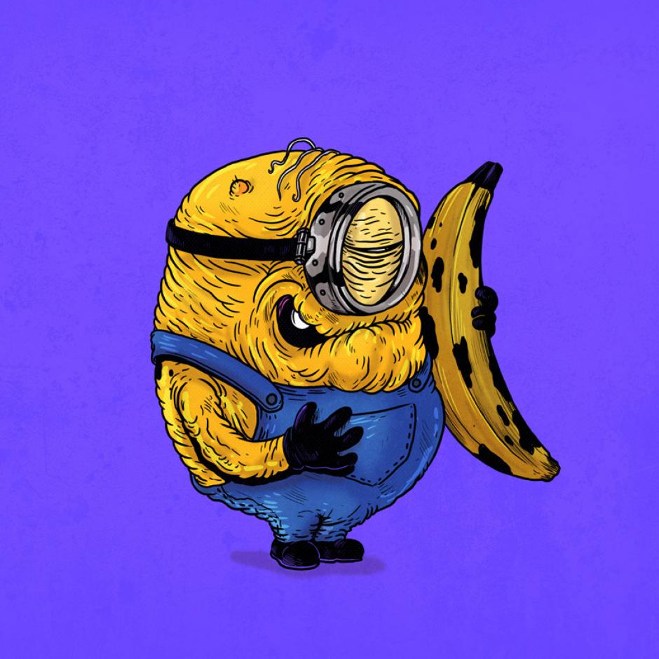 Este minion nunca dejara de disfrutar de su comida favorita, una banana. (Foto: Alex Solis)