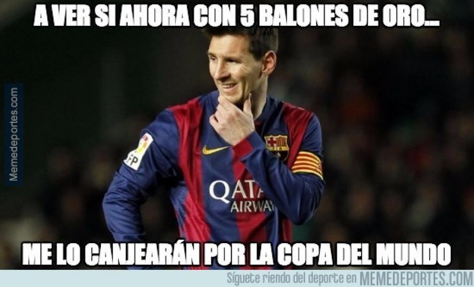 La Copa del Mundo, el tema pendiente de Lionel Messi. (Imagen: memedeportes.com)