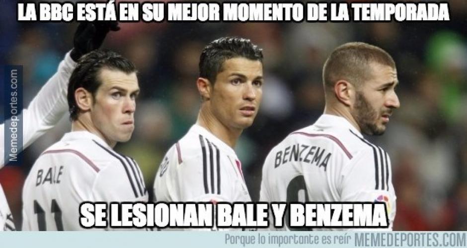 La BBC regresó, pero Bale y Benzema se lesionaron. (Imagen: memedeportes.com)