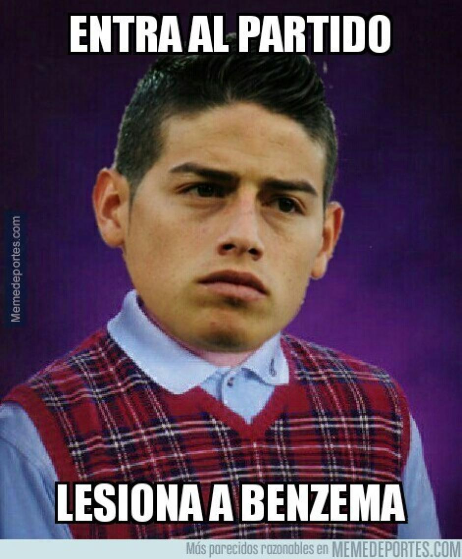 La mala suerte de James Rodríguez. (Imagen: memedeportes.com)