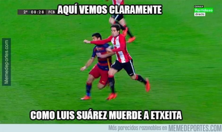 Bromas sobre el historial de mordidas de Luis Suárez. (Imagen: memedeportes.com)