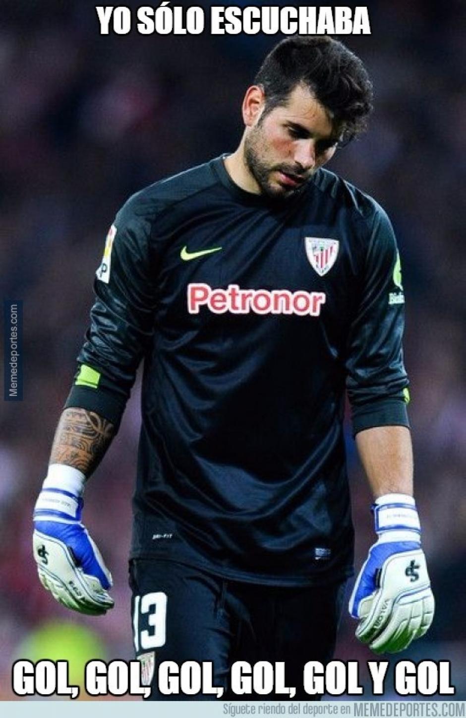 En redes sociales se burlaron del portero del Athletic. (Imagen: memedeportes.com)