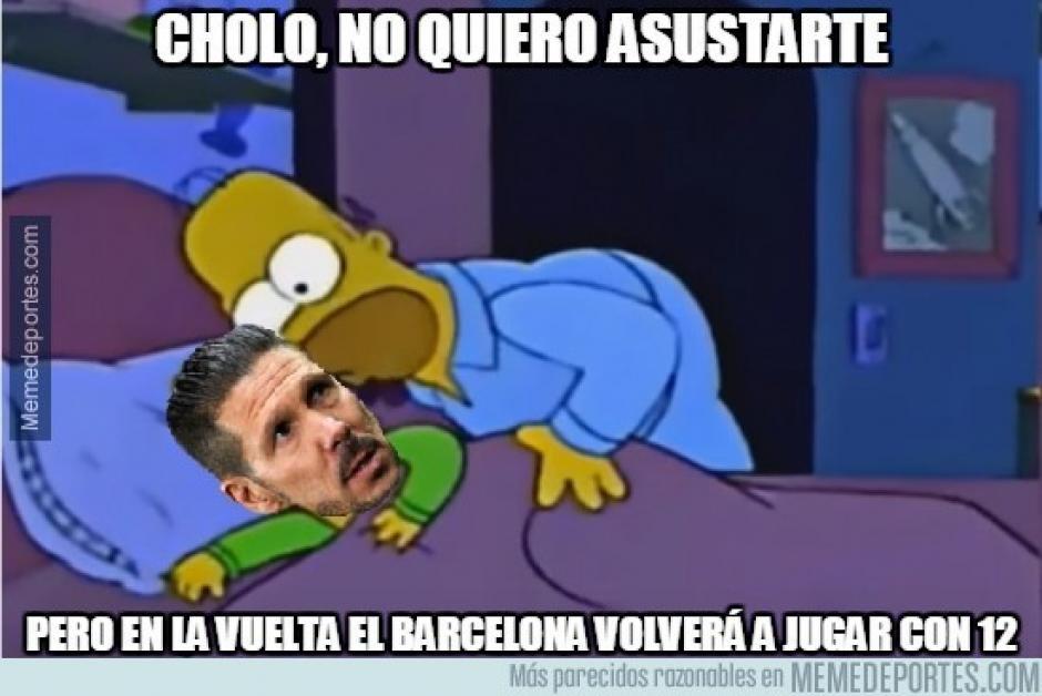 Algunos bromearon con respecto al juego de vuelta entre Atlético de Madrid y Barcelona.  (Imagen: memedeportes.com)