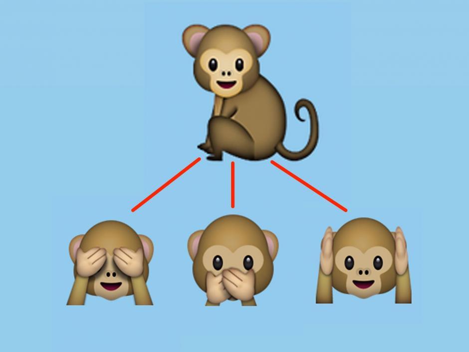 Los famosos monos de los emojis. (Foto: techinsider)