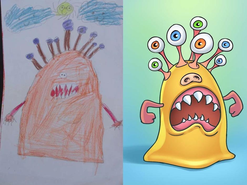 Los niños están felices de ver sus obras de arte. (Foto: Monsters by kids)