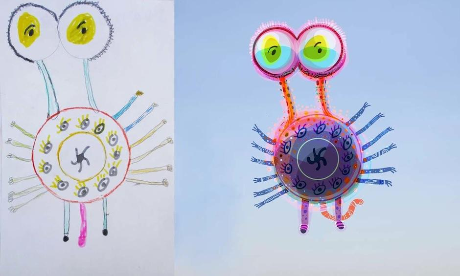 """Cada niño interpretó su concepto de """"monstruo"""". (Foto: Monsters by kids)"""