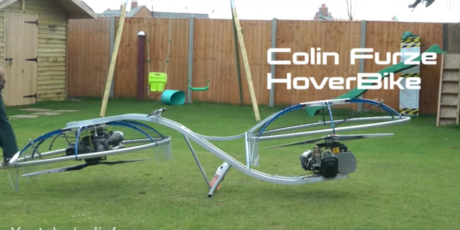 Una moto voladora fue creada en Inglaterra. (Captura de pantalla: Colin Furze/Youtube)