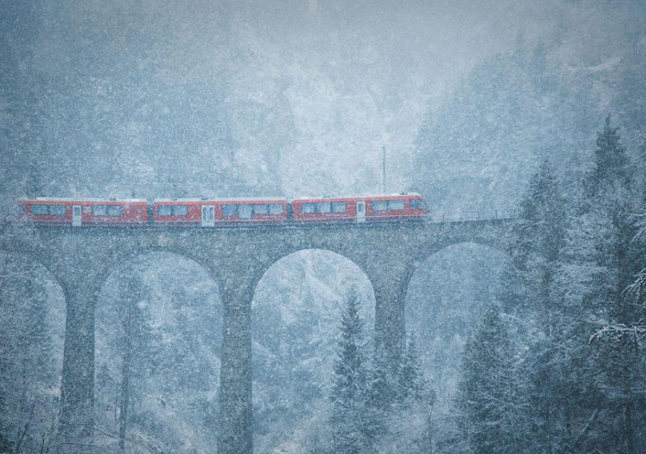 Así se ven las nevadas en las montañas de Suiza. (Foto: Julia Wimmerlin/National Geographic)