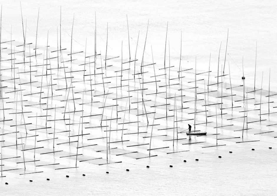 Un pescador captado en su granja acuática. (Foto: Tugo Cheng/National Geographic)