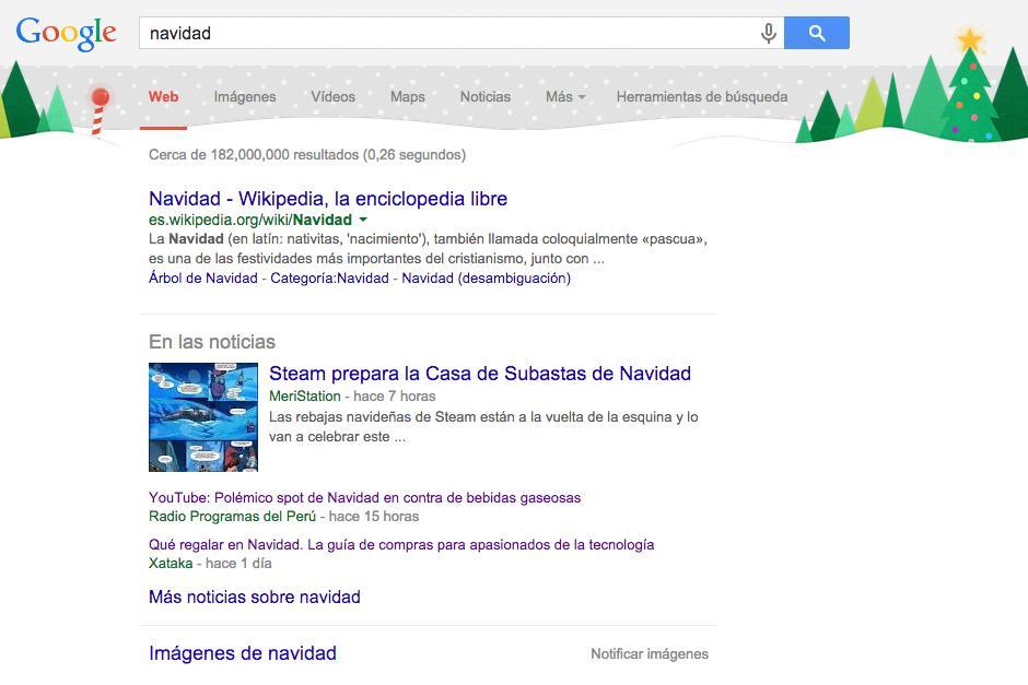 La página de Google se viste de Navidad | Soy502