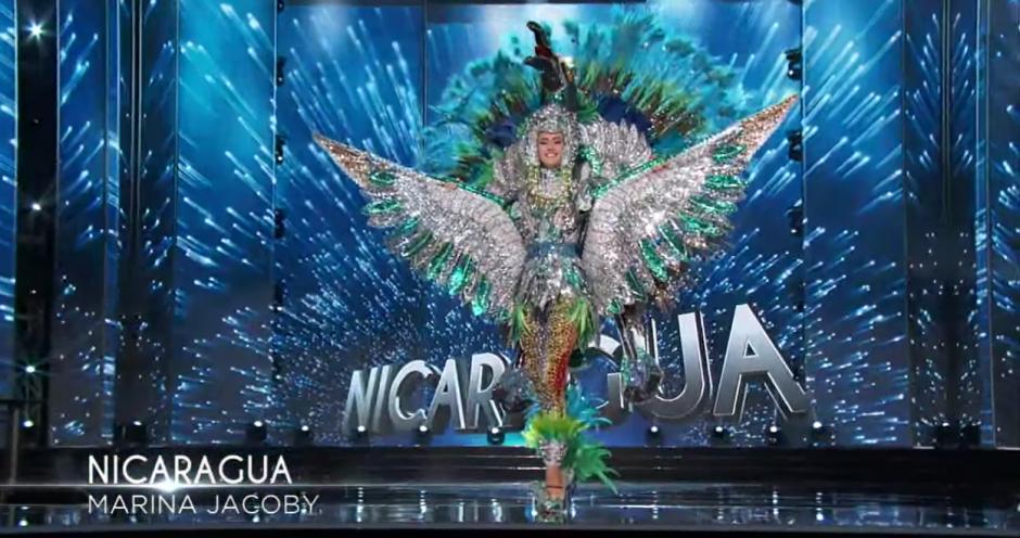 Nicaragua usó las plumas para su vestuario. (Foto: captura de pantalla)