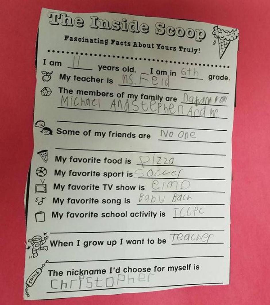 Chris escribió  en una tarea escolar que no tenía amigos.  (Foto: www.infobae.com)