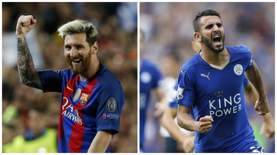 Messi, ganador en una encuesta, y Mahrez, en la otra. (Fotos: AFP)