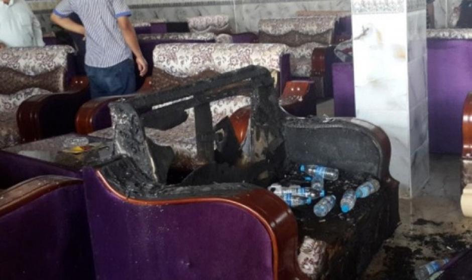Así terminó el local tras el atentado a aficonados de la peña del Real Madrid en Irak. (Foto: twitter)