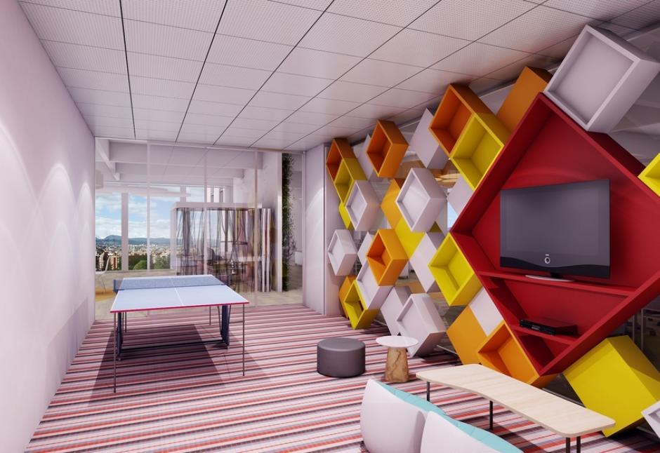 Los espacios fueron diseñados para que los empleados puedan relajarse mientras trabajan.