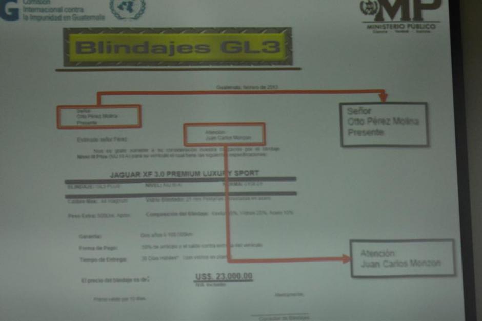 Parte de las pruebas presentadas por la fiscalía guatemalteca al momento de acusar formalmente a Otto Pérez Molina. (Foto: Jesús Alfonso/Soy502)