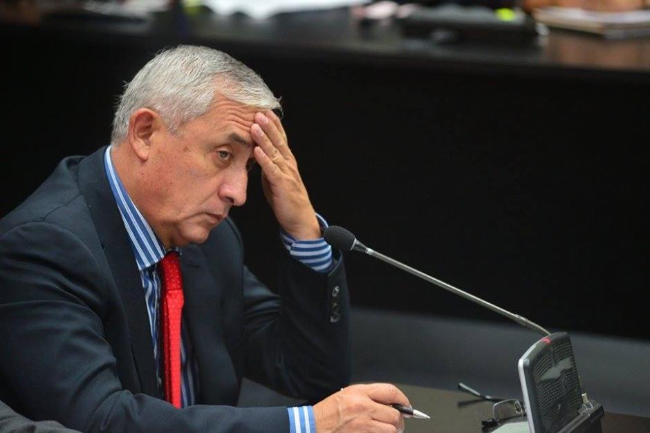 Las expresiones del expresidente de Guatemala Otto Pérez Molina cuando el Ministerio Público (MP) reproduce varias escuchas telefónicas en el caso conocido como La Línea. (Foto: Wilder López/Soy502)