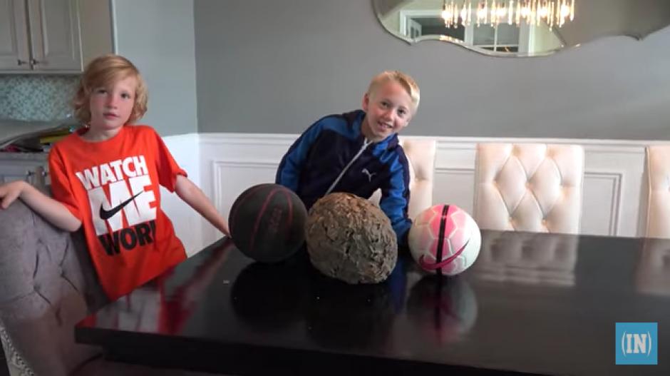 El panal fue comparado con el tamaño de una pelota de basquet y otra de fútbol. (Foto: YouTube)