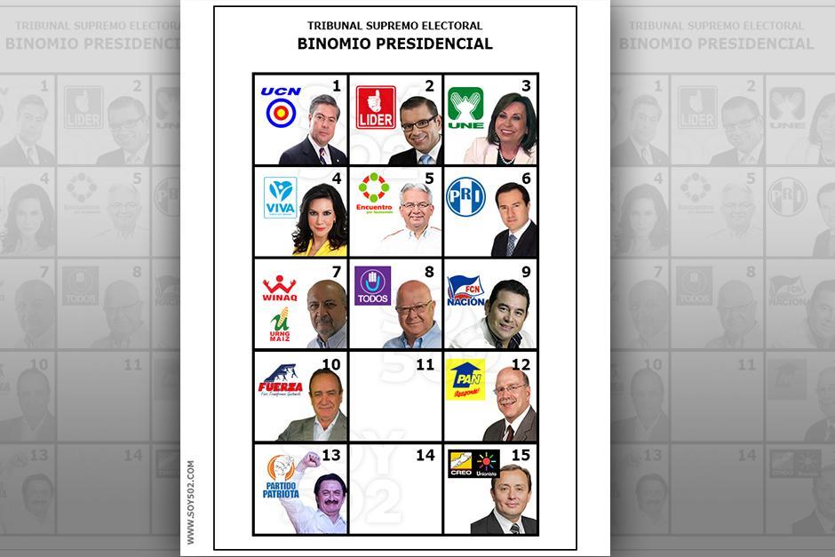 Así lucirá la papeleta con la que se elegirán a los próximos gobernantes del país. (Imagen Javier Marroquín/Soy502)