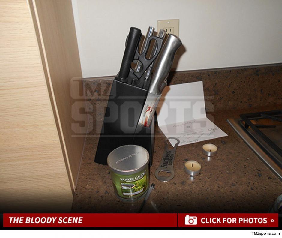 Esta imagen muestra el lugar donde se encontraba el supuesto cuchillo con el que Marco Pappa fue herido en el abdomen. (Foto: TMZ Sports)