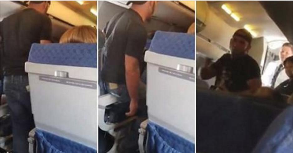 El capitán de un vuelo usa la fuerza para calmar a un pasajero. (Captura de pantalla: Wewwooff/YouTube)