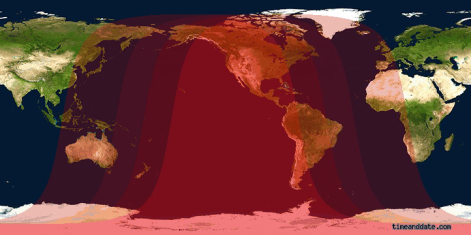 Todos los lugares marcados sobre rojo, son los países en donde se podrá observar el eclipse lunar completo. (Gráfico: Timeanddate.com)
