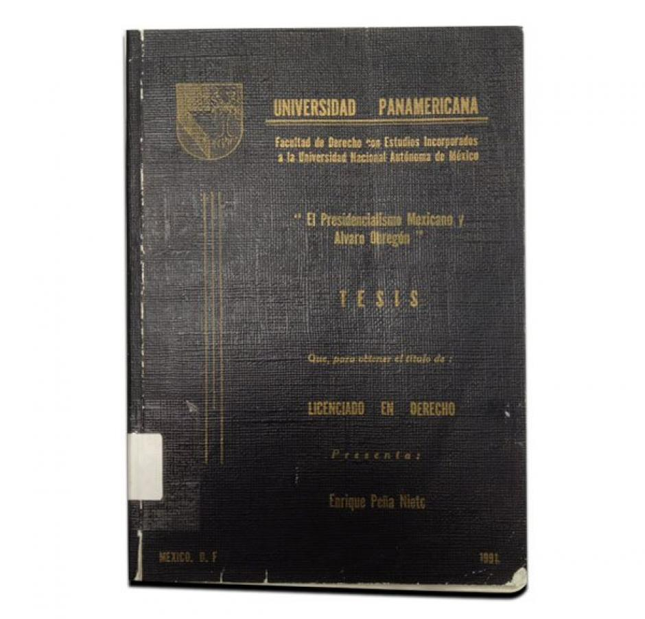 Esta es la tesis que Enrique Peña Nieto presentó en 1991. (Foto: aristeguinoticias.com)
