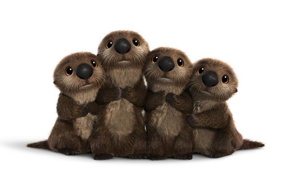 Las nutrias, cuya textura suave y ojos tiernos derriten a cualquiera. (Foto Pixar)