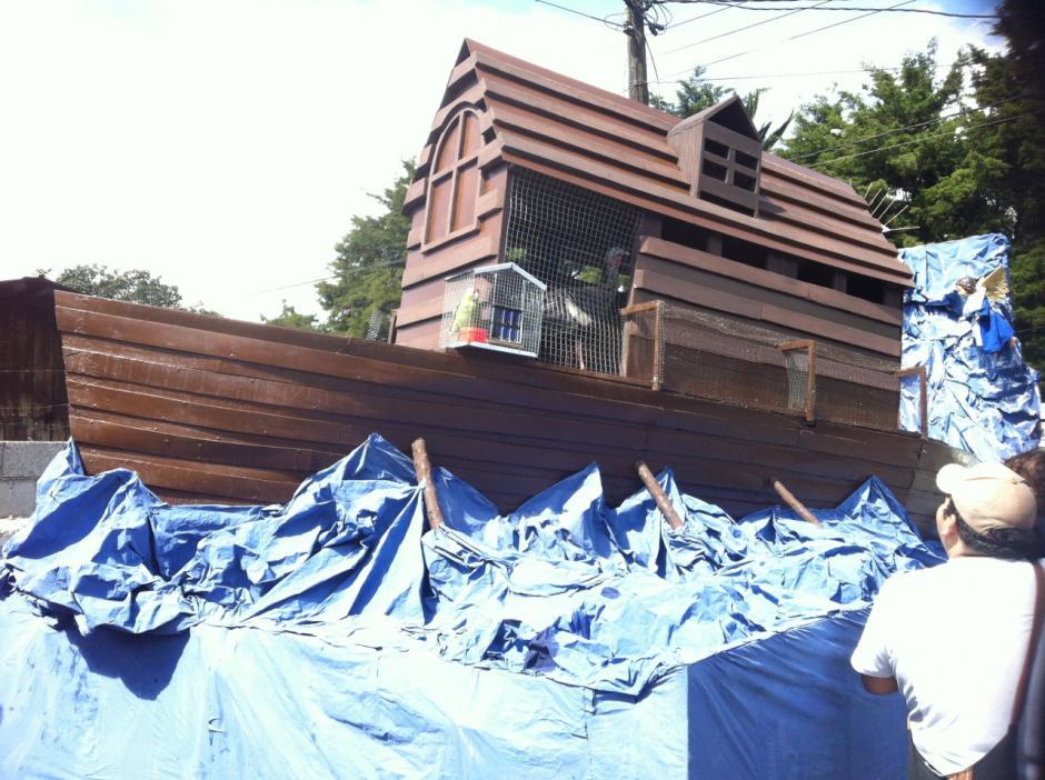La representación del Arca de Noé en una de las carrozas participantes. Foto Dina Fernández/Soy502