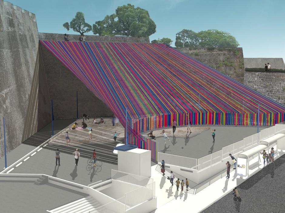 Un grupo de arquitectos internacionales tomó la Plaza Herradura del Teatro Nacional para transformarla. (Foto: Fundamental)