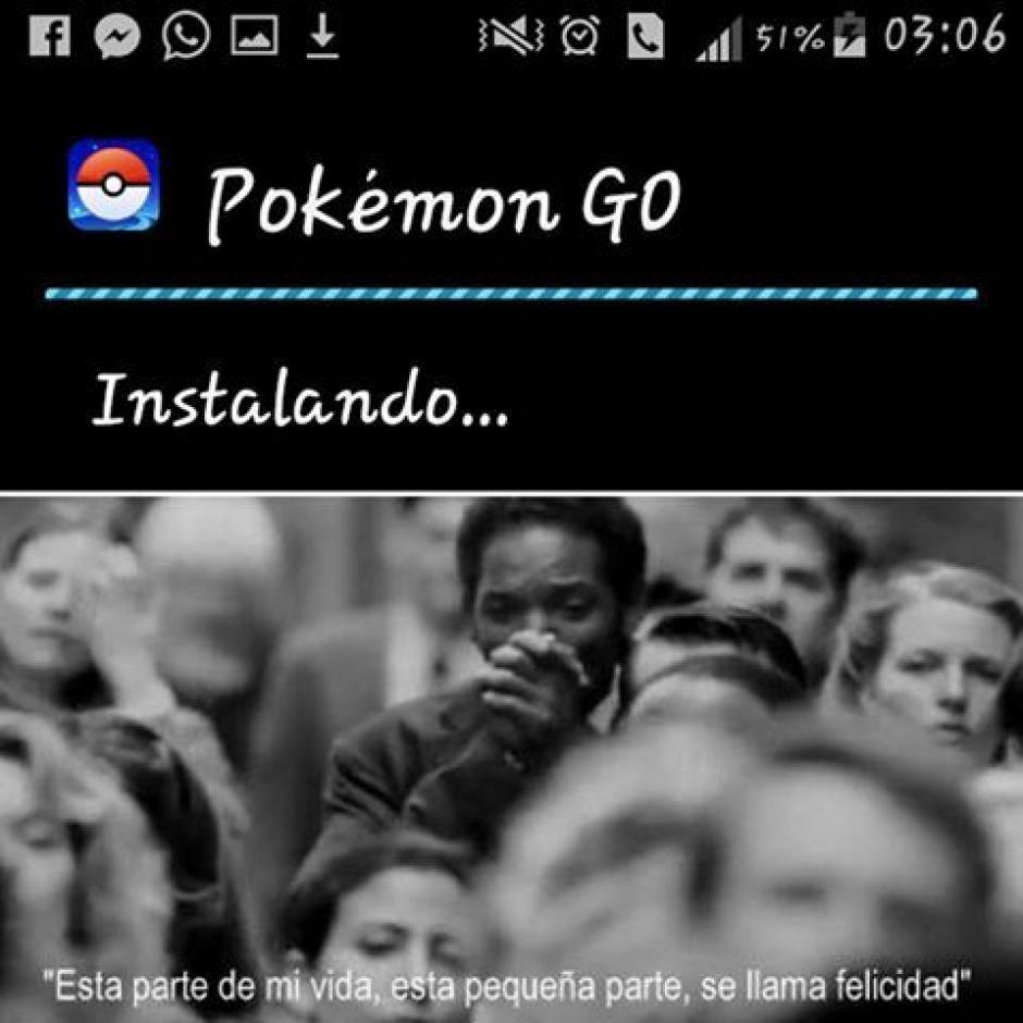 Cuando de repente la aplicación de Pokémon Go comienza a instalarse por fin. (Imagen: sopitas.com)
