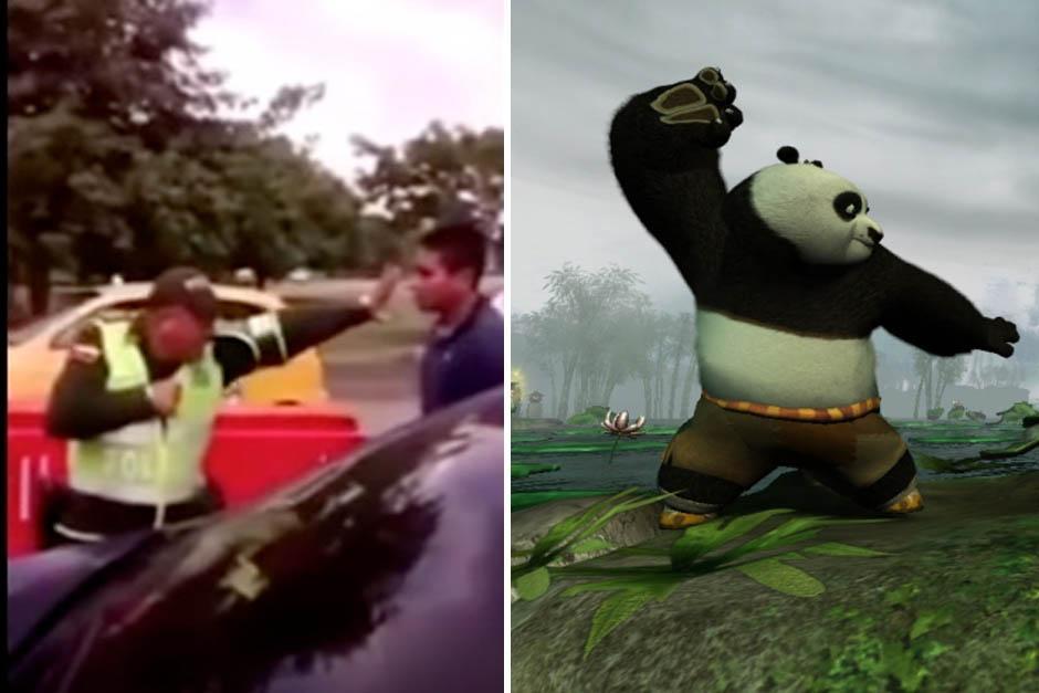 Un policía colombiano es comparado con Kung Fu Panda por su forma de defenderse.