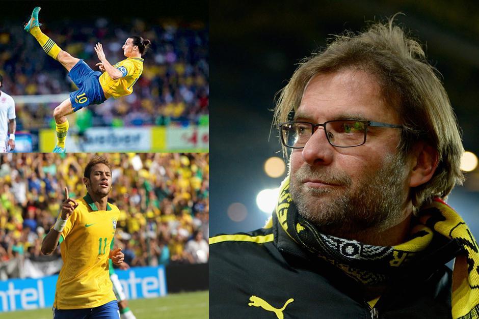 Klopp, Zlatan y Neymar, son los finalistas en algunas categorías de los premios Balón de Oro FIFA 2013.