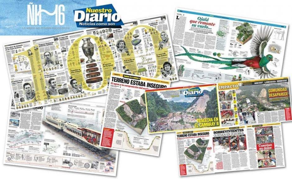 Estos son los trabajos ganadores que Nuestro Diario recibió en los Premios ÑH16. (Foto: Nuestro Diario)