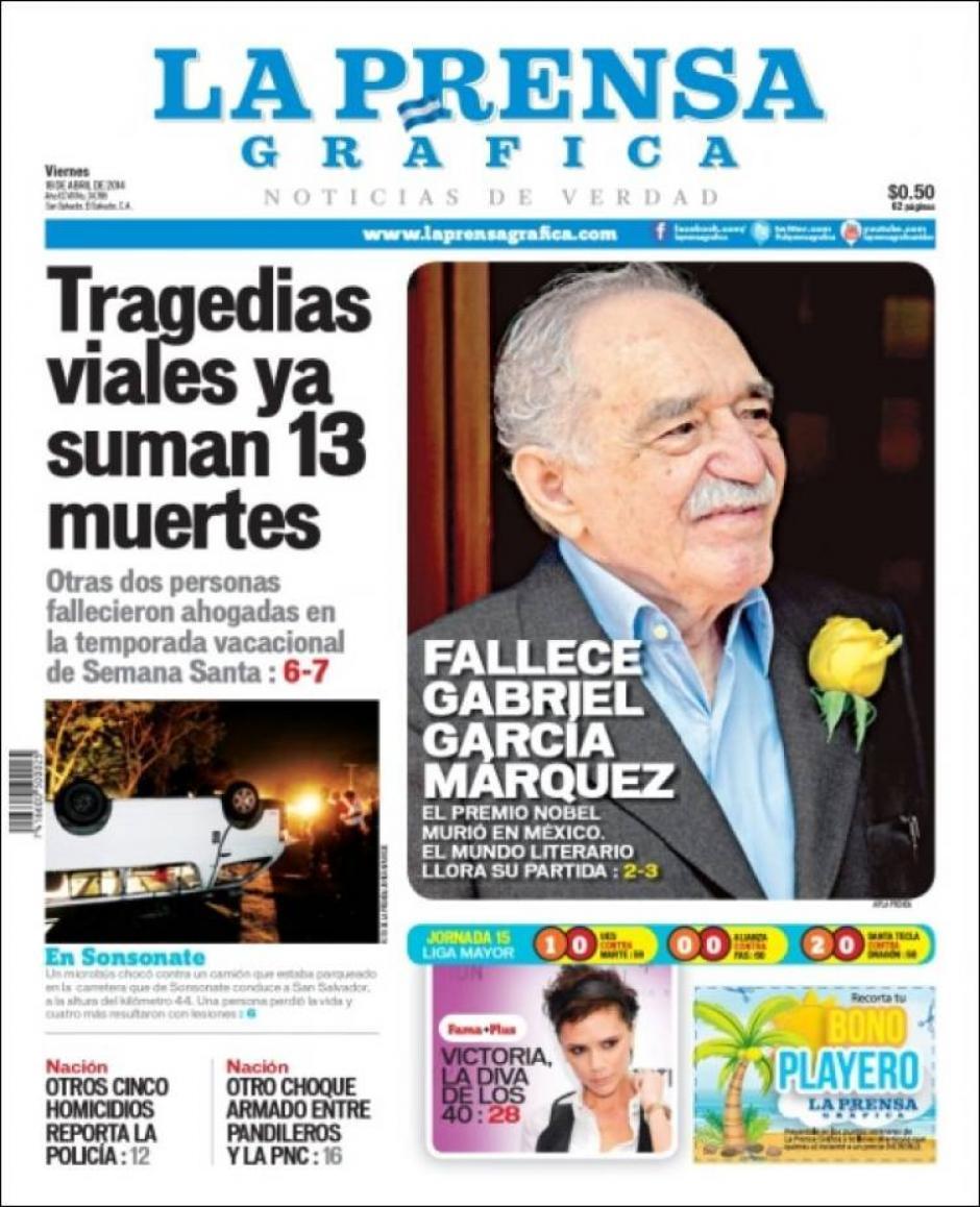 El diario salvadoreño La Prensa Gráfica destaca una de las últimas fotos tomadas al autor colombiano. (Foto: Clases de Periodismo)