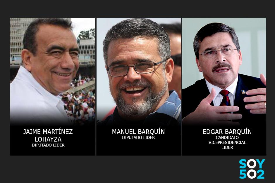 Los diputados Jaime Martínez Loaiza y Manuel Barquín, así como el vicepresidenciable del Lider, están señalados de lavado de dinero. (Foto: Edición: Javier Marroquín/Soy502)