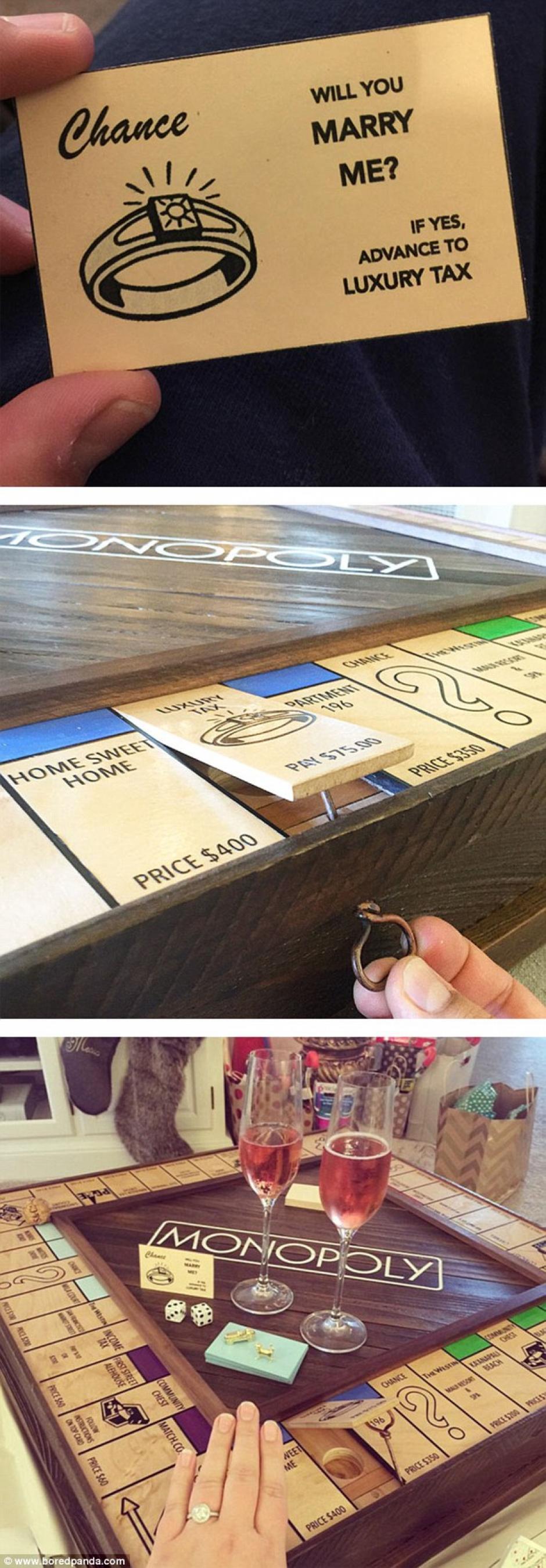 Un juego de Monopoly escondía la pregunta que les cambiaría la vida. (Fotos: Bored Panda)