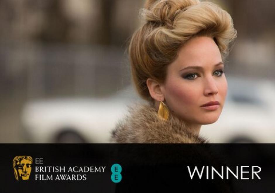 """Jennifer Lawrence ganó el Bafta como """"mejor actriz secundaria"""" por su rol en American Hustle. Foto AFP"""