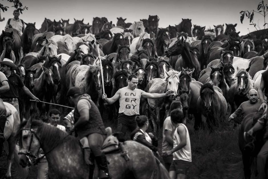 Las personas, aunque corren riesgos mezclándose con los caballos salvajes, han vuelto la actividad una tradición. (Foto: Javier Arcenillas)