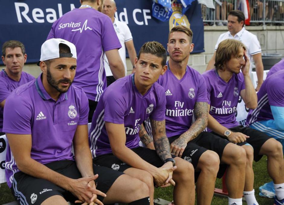 Benzema, James, Ramos y Modric no fueron titulares en el Real Madrid. (Foto: EFE)