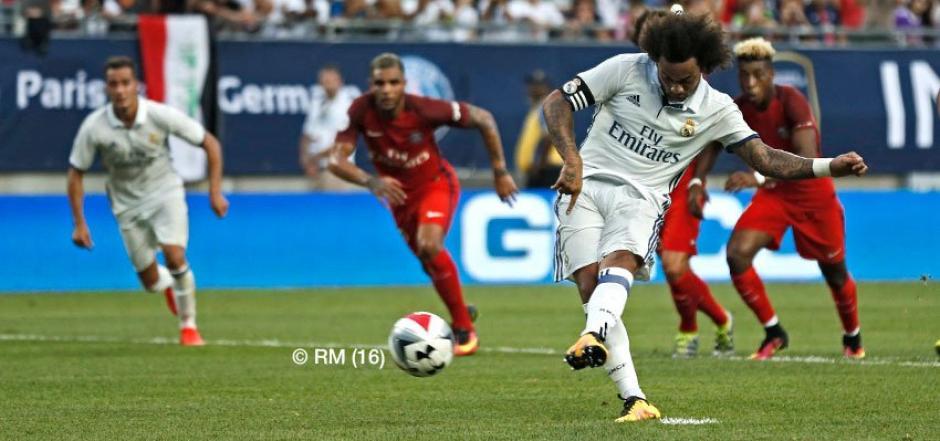 Mercelo marcó de penalti para el Real Madrid frente al PSG. (Foto: EFE)