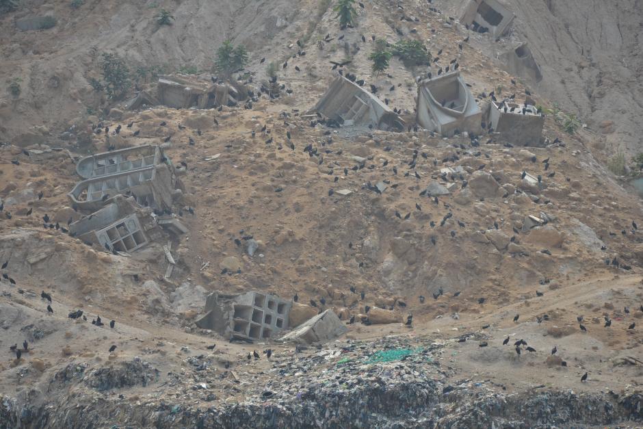 Algunos mausoleos pueden observarse al fondo del basurero. (Foto: Wilder López/Soy502)