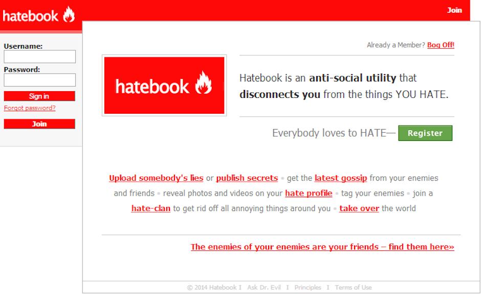 """Si odias al mundo puedes expresarlo en """"Hatebook"""". (Foto: Hatebook)"""