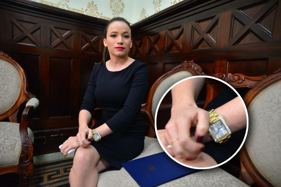 Un acercamiento al fastuoso reloj de Daniela Beltranena. (Foto: Wilder López/Soy502).