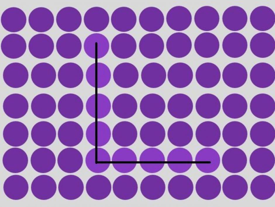 En la tonalidad de morado oscuro se esconde una letra L. (Imagen: playbuzz)
